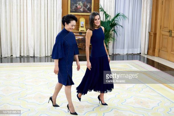 Queen Letizia of Spain receives China's first lady Peng Liyuan for an official dinner at the Zarzuela Palace on November 27 2018 in Madrid Spain