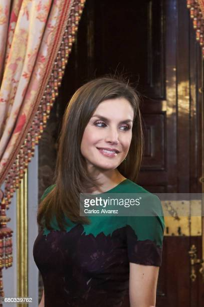 Queen Letizia of Spain receives Costa Rica's President Luis Guillermo Solis and wife Mercedes Penas Domingo for an official lunch at the Royal Palace...