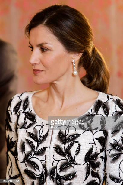 Queen Letizia of Spain receives Crown Prince Mohammad bin Salman bin Abdulaziz Al Saud of Saudi Arabia for an official lunch at the Royal Palace on...