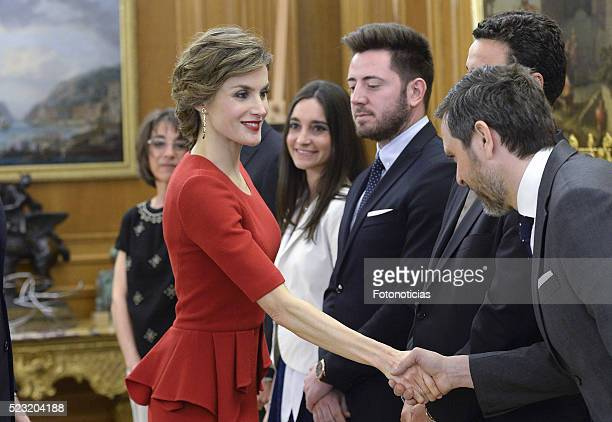 Queen Letizia of Spain receives figure skating world champion Javier Fernandez at Zarzuela Palace on April 22 2016 in Madrid Spain