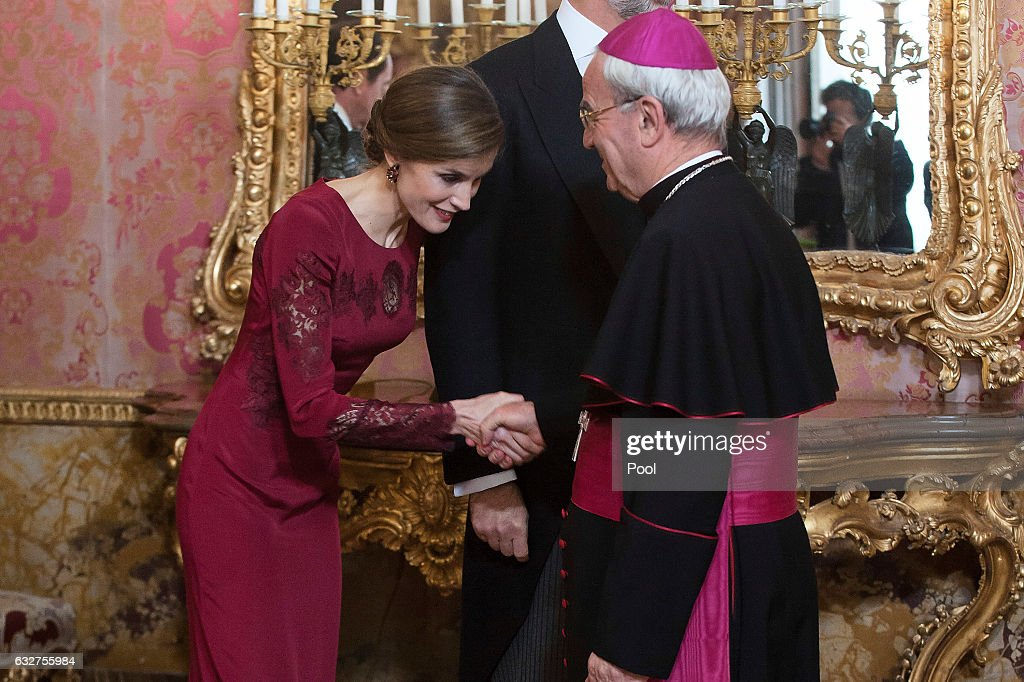 Queen Letizia of Spain receives foreign ambassadors at the Royal Palace on January 26, 2017 in Madrid, Spain.