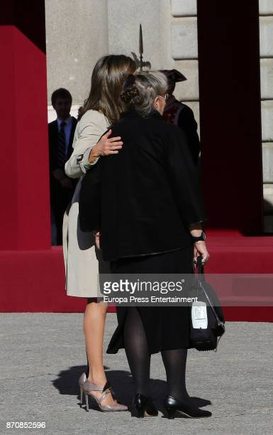 Queen Letizia of Spain receives Israel's president's wife Nechama Rivlin at Royal Palace on November 6, 2017 in Madrid, Spain.