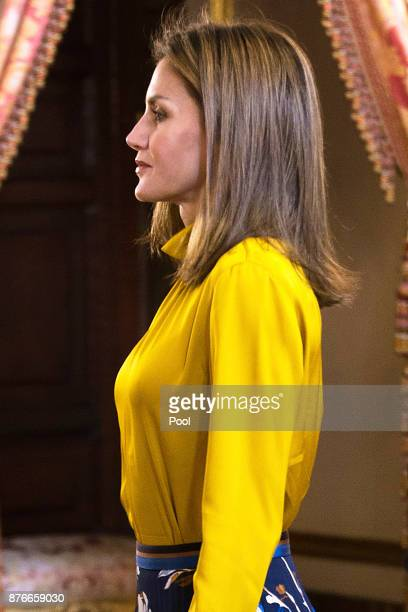 Queen Letizia of Spain receives Palestinian President Mahmoud Abbas at the Royal Palace on November 20 2017 in Madrid Spain