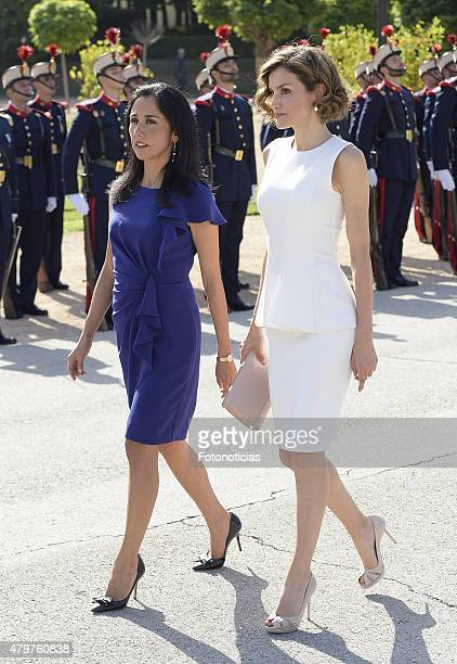 Queen Letizia of Spain receives Peruvian First Lady Nadine Heredia Alarcon at the El Pardo Palace on July 7 2015 in Madrid Spain
