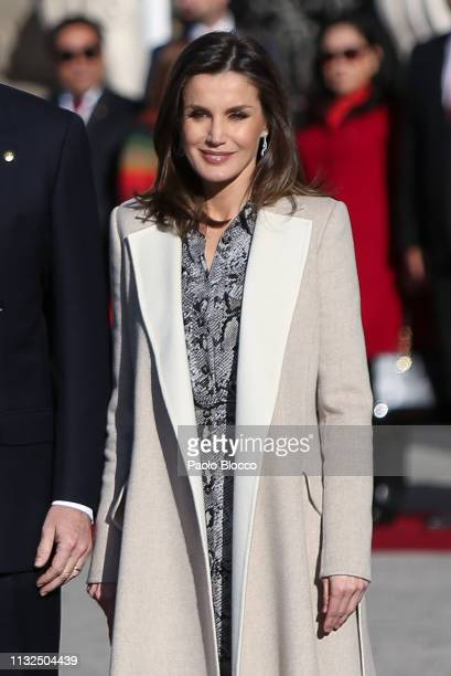Queen Letizia of Spain receives Peruvian president Martin Alberto Vizcarra Cornejo and wife Maribel Diaz Cabello at the Royal Palace on February 27...