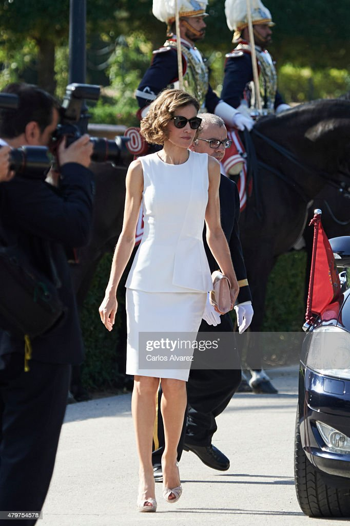 Queen Letizia of Spain receives Peruvian President Ollanta Humala Tasso at the El Pardo Palace on July 7, 2015 in Madrid, Spain.