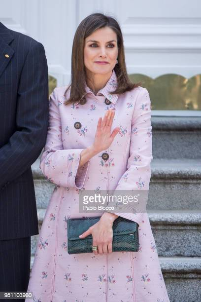 Queen Letizia of Spain receives President of Mexico Enrique Pena Nieto and his wife Angelica Rivera at the Zarzuela Palace on April 25 2018 in Madrid...