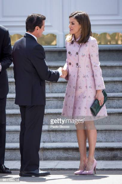 Queen Letizia of Spain receives President of Mexico Enrique Pena Nieto at the Zarzuela Palace on April 25 2018 in Madrid Spain