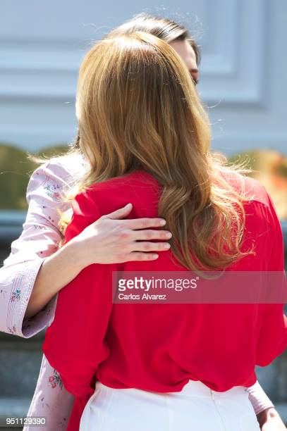 Queen Letizia of Spain receives President of Mexico Enrique Pena Nieto wife's Angelica Rivera at the Zarzuela Palace on April 25 2018 in Madrid Spain