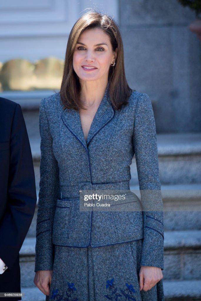 Queen Letizia of Spain receives president of Portugal Marcelo Rebelo de Sousa at Zarzuela Palace on April 16, 2018 in Madrid, Spain.