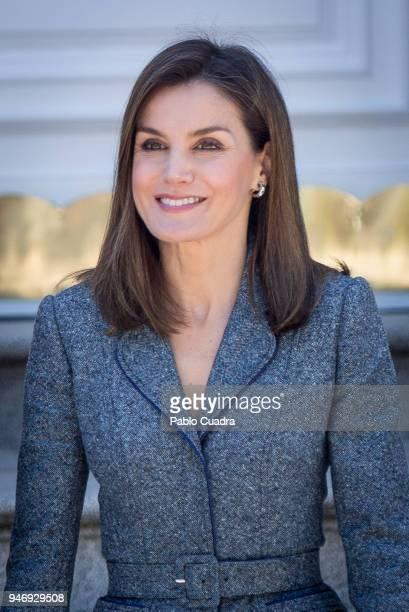 Queen Letizia of Spain receives president of Portugal Marcelo Rebelo de Sousa at Zarzuela Palace on April 16 2018 in Madrid Spain