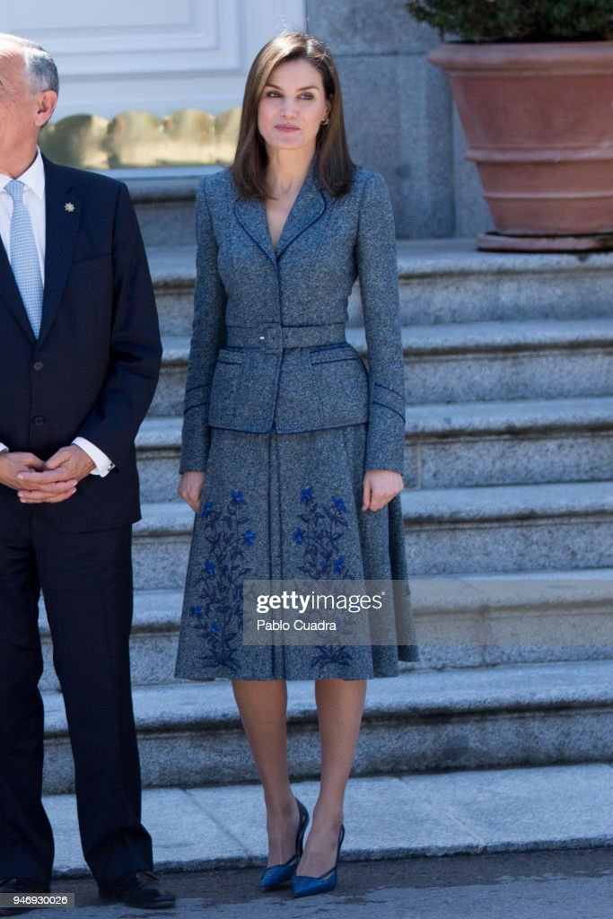 Queen Letizia of Spain receives president of Portugal Marcelo Rebelo de Sousa at Zarzuela Palace on April 16, 2018 in Madrid, Spain.
