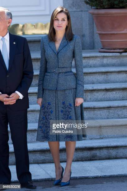 Queen Letizia of Spain receives president of Portugal Marcelo Rebelo de Sousa at Zarzuela Palace on April 16 2018 in Madrid Spain