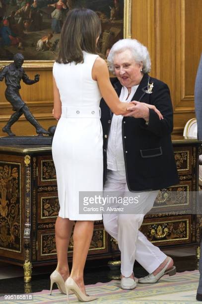 Queen Letizia of Spain receives Princess Pilar de Borbon at Zarzuela Palace on July 10 2018 in Madrid Spain