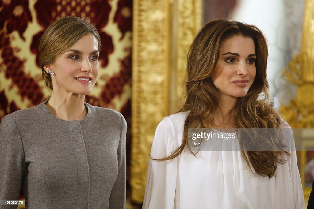Queen Letizia of Spain (L) receives Queen Abdullah of Jordan (R) for a lunch at the Royal Palace on November 20, 2015 in Madrid, Spain.