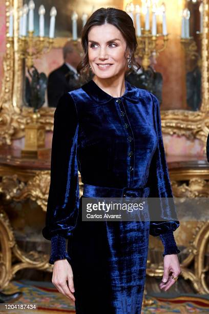Queen Letizia of Spain receives the Diplomatic Corps at the Zarzuela Palace on February 05, 2020 in Madrid, Spain.