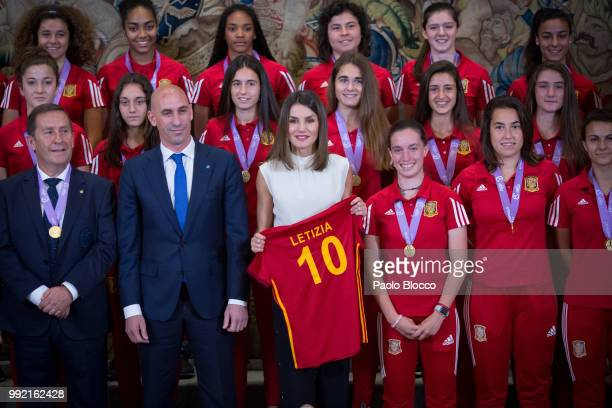 Queen Letizia of Spain receives the President of the Spanish football federation Luis Rubiales and the Spanish U17 women's soccer team at Zarzuela...