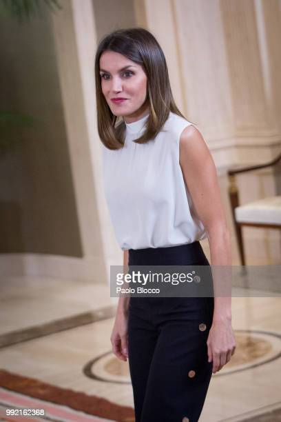 Queen Letizia of Spain receives the Spanish U17 women's soccer team at Zarzuela Palace on July 5 2018 in Madrid Spain