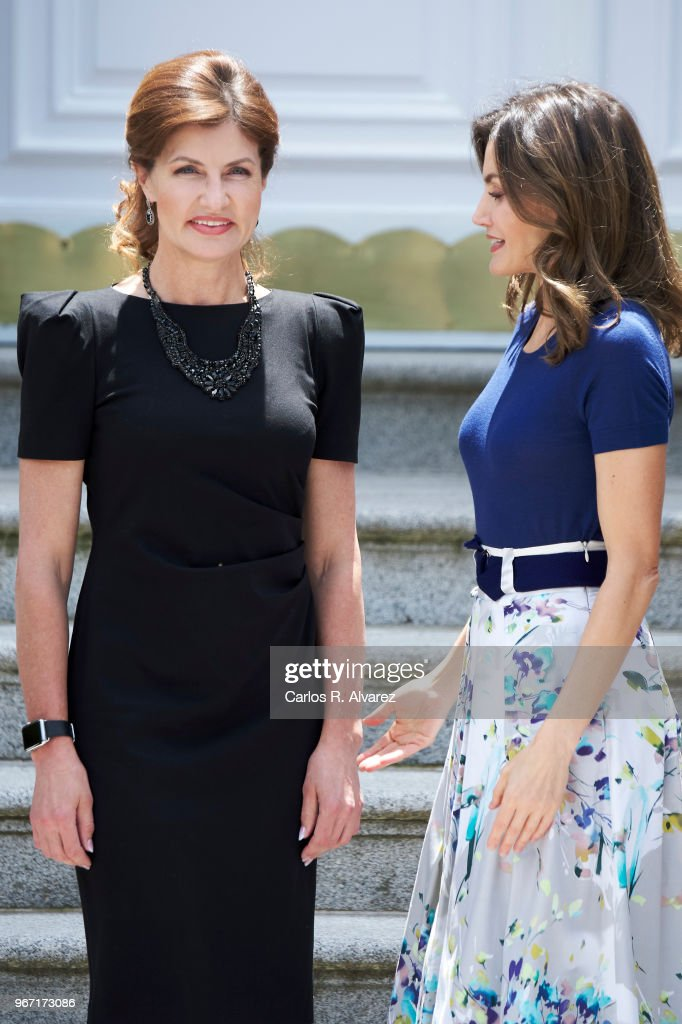 Queen Letizia of Spain (R) receives Ukrainian First Lady Maryna Poroshenko (L) at the Zarzuela Palace on June 04, 2018 in Madrid, Spain.
