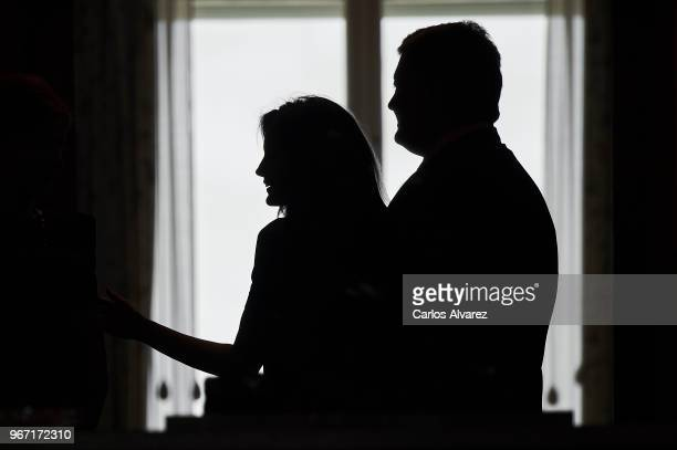 Queen Letizia of Spain receives Ukrainian President Petro Poroshenko at the Zarzuela Palace on June 04, 2018 in Madrid, Spain.