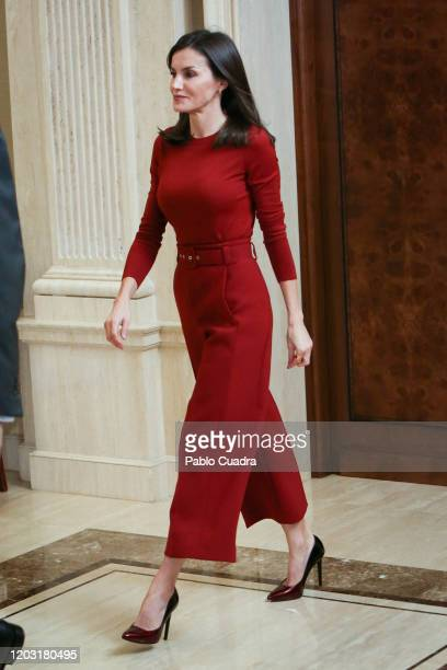 Queen Letizia of Spain recives National Wateropolo temas at Zarzuela Palace on January 31, 2020 in Madrid, Spain.