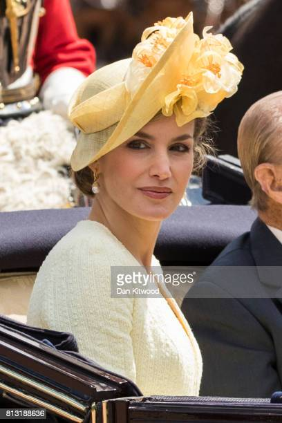 Queen Letizia of Spain rides in a carriage with Prince Philip Duke of Edinburgh during a State visit by the King and Queen of Spain at Centre Gate...