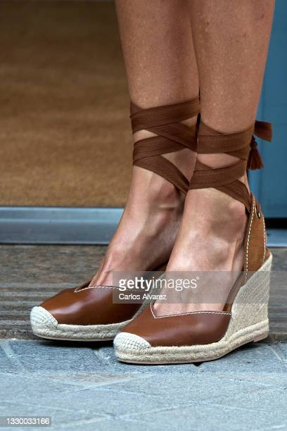 Queen Letizia of Spain, shoes detail, attends a meeting at the AECC on July 22, 2021 in Madrid, Spain.