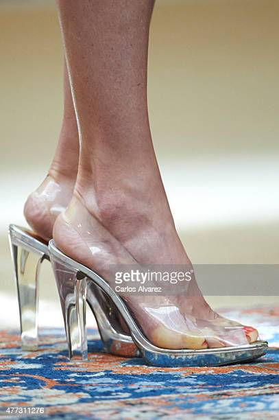 Queen Letizia of Spain shoes detail attends the Bicentenary of the Council of the Greatness of Spain at the El Pardo Palace on June 16 2015 in Madrid...