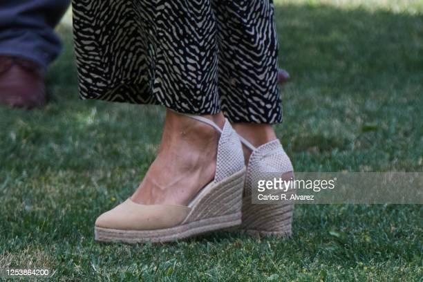 Queen Letizia of Spain shoes detail visit the ASPADEC Association headquarters on July 02 2020 in Cuenca Spain This trip is part of a royal tour that...