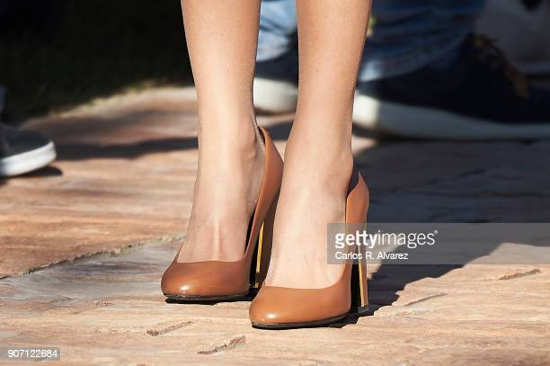 Queen Letizia of Spain shoes detail visits the 'Joma Sport' factory on January 19 2018 in Portillo de Toledo Spain