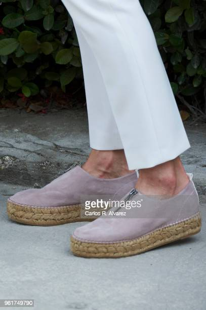 Queen Letizia of Spain shoes detail visits the St Vincent de Paul Sisters College in the Cite Soleil neighborhood on May 23 2018 in PortauPrince...
