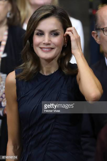 Queen Letizia of Spain smiles during the World Cancer Leaders Summit Welcome Ceremony at Palacio de Mineria as part of an official visit to Mexico by...