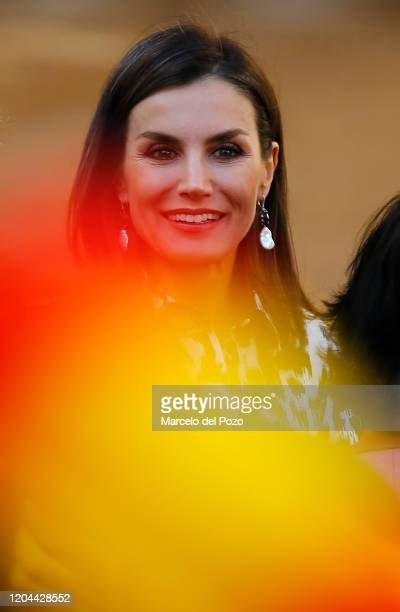 Queen Letizia of Spain smiles on February 06, 2020 in Ecija, Spain.