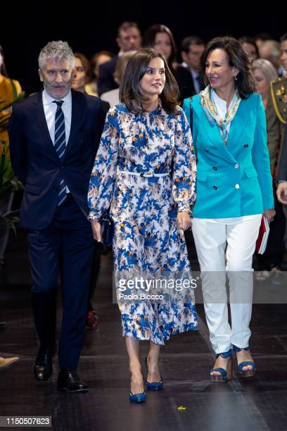Queen Letizia of Spain Spanish Interior Minister Fernando GrandeMarlaska and President of the Spanish bank Banco Santander Ana Patricia Botin attend...