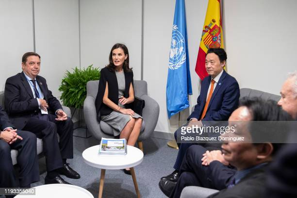 Queen Letizia of Spain Spanish Minister of Agriculture Fisheries and Food Luis Planas Puchades and DirectorGeneral of the Food and Agriculture...