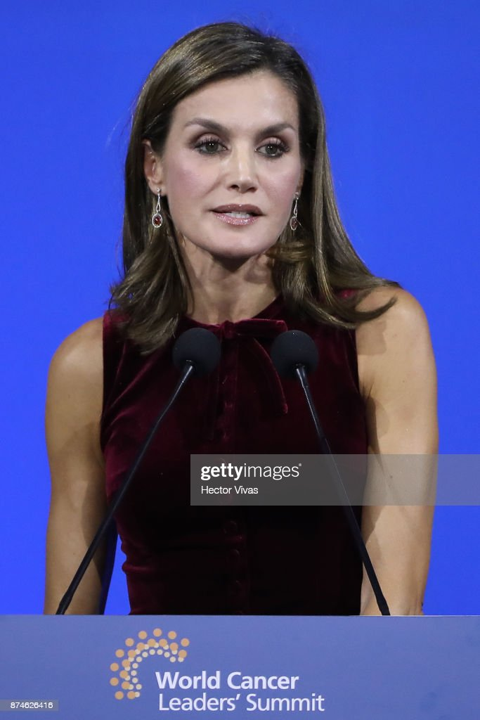 Queen Letizia of Spain speaks during the World Cancer Leaders' Summit Closing Ceremony at Palacio de Mineria as part of an official visit to Mexico by Queen Letizia of Spain on November 14, 2017 in Mexico City, Mexico.