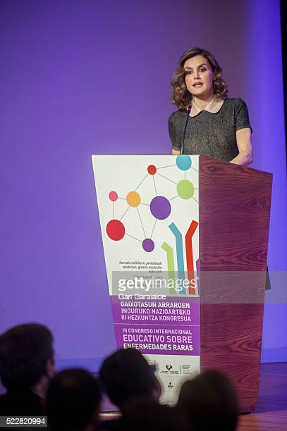Queen Letizia of Spain speaks to the audience as she attends a congress on rare diseases on April 21 2016 in Bilbao Spain