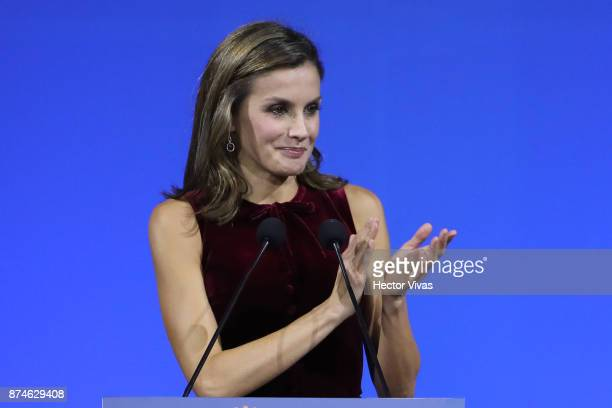 Queen Letizia of Spain talks during the World Cancer Leadersu2019 Summit Closing Ceremony at Palacio de Minería as part of an official visit to...