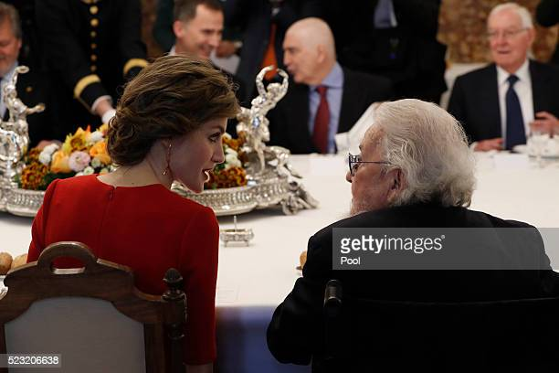 Queen Letizia of Spain talks to Fernando del Paso during a lunch offered to Mexican writer Fernando del Paso following the Cervantes Prize award at...