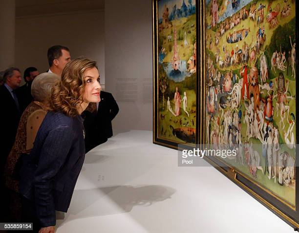 Queen Letizia of Spain views The Garden of Earthly Delights by Hieronymus Boschduring a visit to the 'El Bosco' 5th Centenary Anniversary Exhibition...