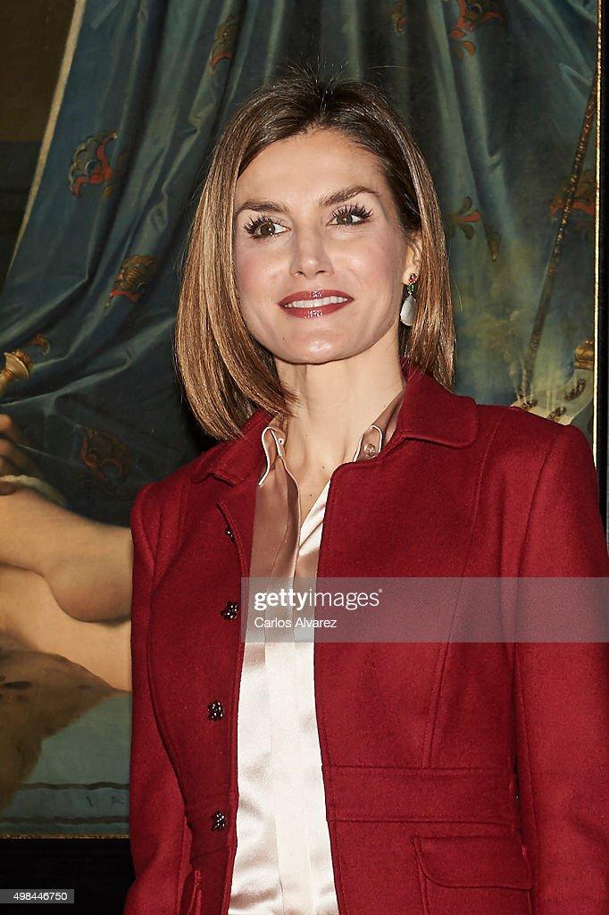 Queen Letizia of Spain visit the 'Ingres' exhibition at the El Prado Museum on November 23, 2015 in Madrid, Spain.
