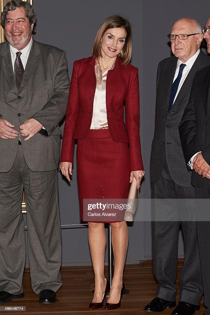 Queen Letizia of Spain (C) visit the 'Ingres' exhibition at the El Prado Museum on November 23, 2015 in Madrid, Spain.