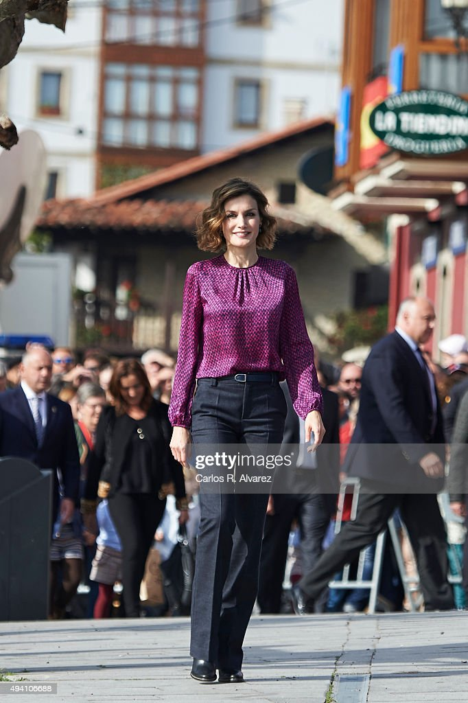 Queen Letizia of Spain visits 2015 Exemplary Town of Colombres on October 24, 2015 in Colombres, Spain. The village of Colombres was honoured as the 2015 Best Asturian Village.