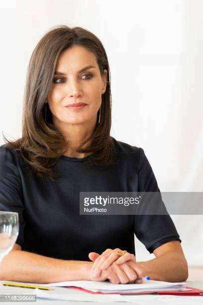 Queen Letizia of Spain visits a traditional Students Residence on June 06, 2019 in Madrid, Spain.