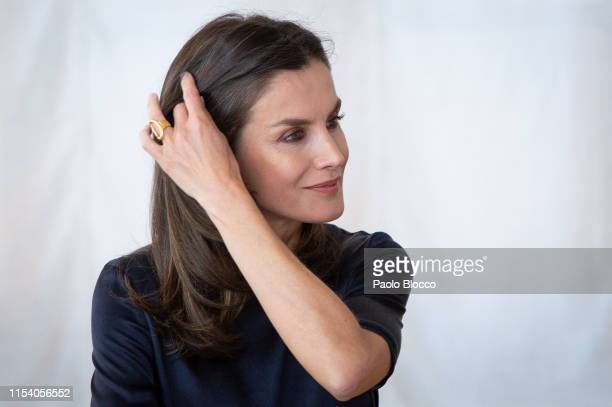 Queen Letizia of Spain visits a traditional Students Residence on June 06 2019 in Madrid Spain
