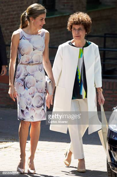 Queen Letizia of Spain visits a traditional Students Residence on on June 14 2017 in Madrid Spain