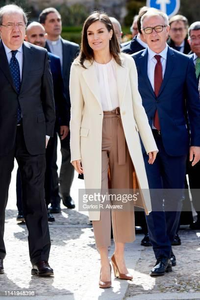 Queen Letizia of Spain visits 'Agneli' exhibition by 'Las Edades del Hombre' Foundation in Lerma on April 11, 2019 in Burgos, Spain.