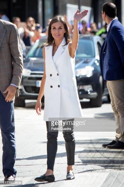 Queen Letizia of Spain visits Arganda del Rey after the floods on September 27 2019 in Arganda del Rey Spain