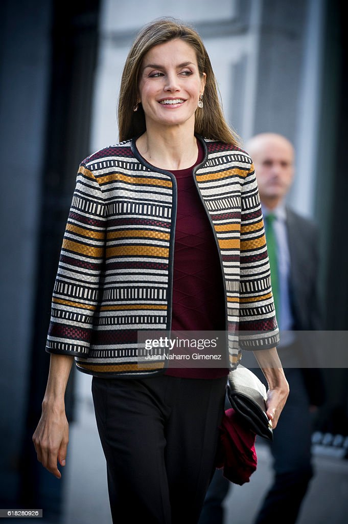 Queen Letizia of Spain Arrives At Medical College Headquarters : News Photo