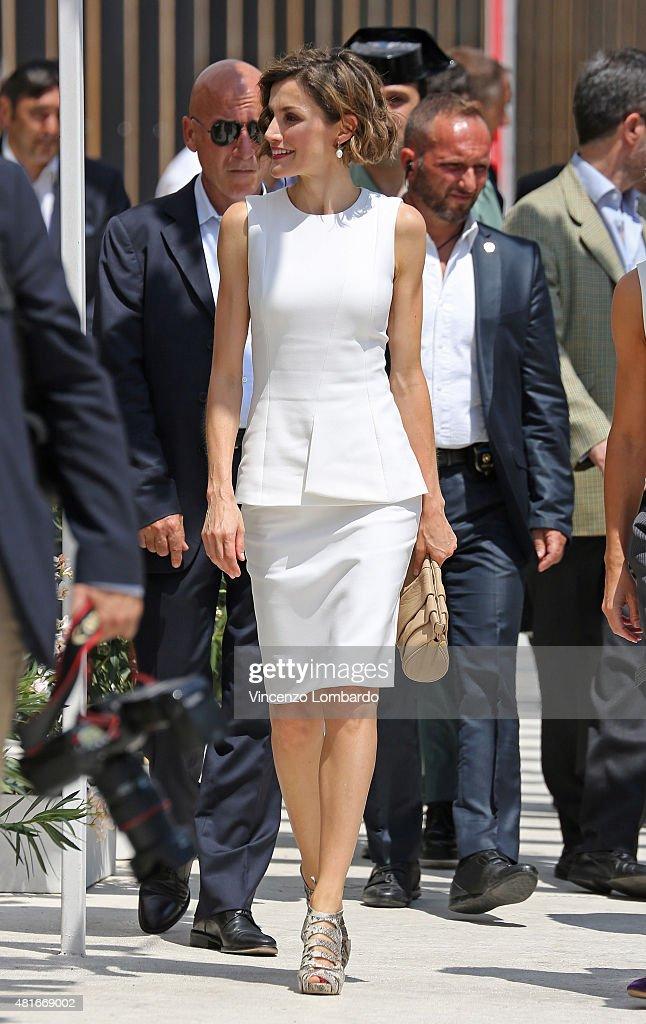 Queen Letizia of Spain Visits Expo 2015 : News Photo